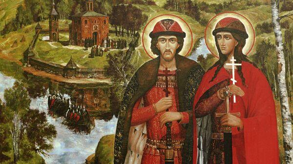 Фрагмент иконы  Святые Борис и Глеб