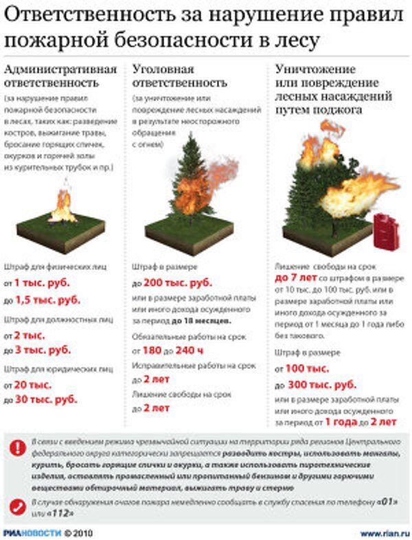 Отвественность за нарушение правил пожарной безопасности в лесу