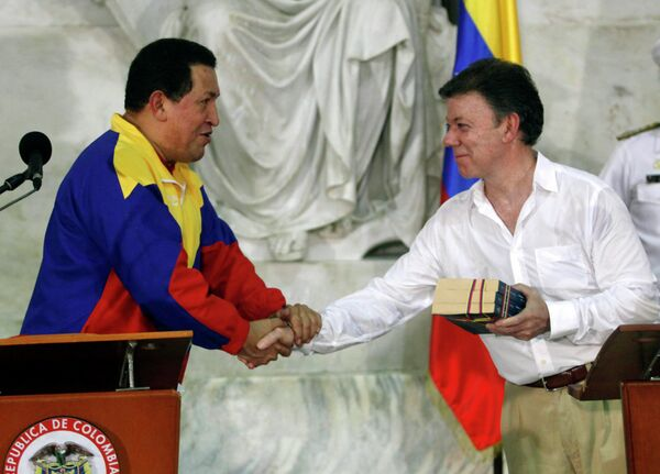 Президент Венесуэлы Уго Чавес и президент Колумбии Хуан Мануэль Сантос на встрече в Колумбии