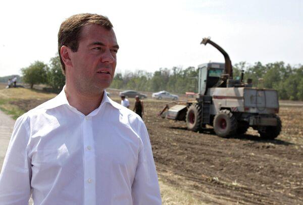 Президент РФ Д.Медведев посетил сельскохозяйственный кооператив в Ростовской области