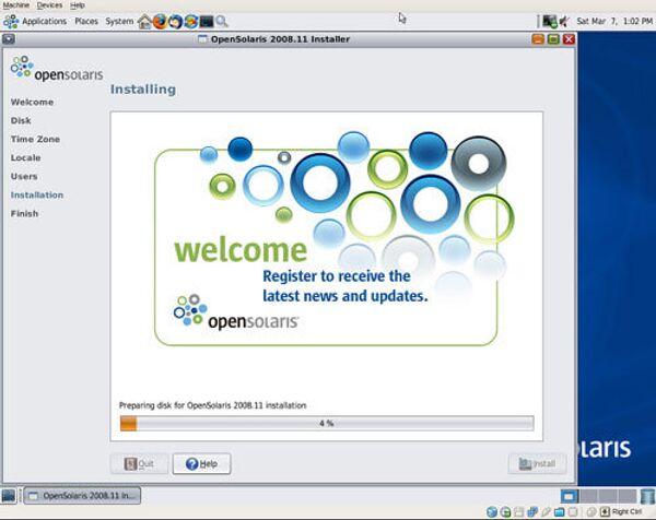 Установка OpenSolaris
