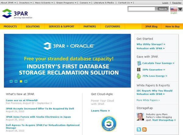 Скриншот сайта компании 3PAR
