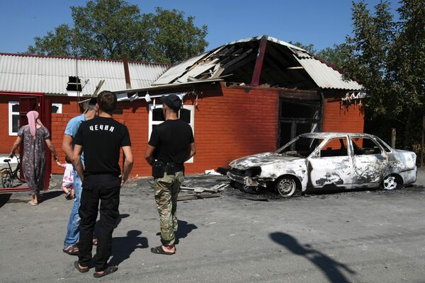 Последствия ночного нападения боевиков на село Центорой