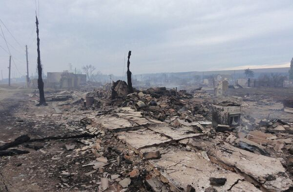 Последствия пожара в станице Лапшинской в Волгорадской области