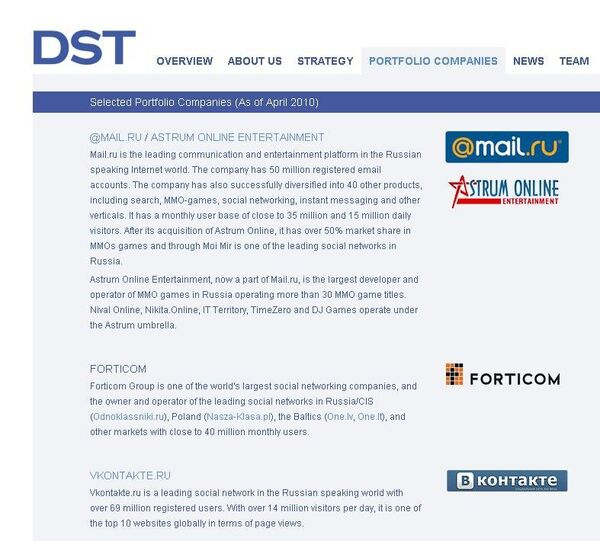 Сайт компании DST