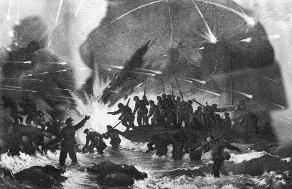Репродукция рисунка П. Я. Кирпичева Высадка десанта