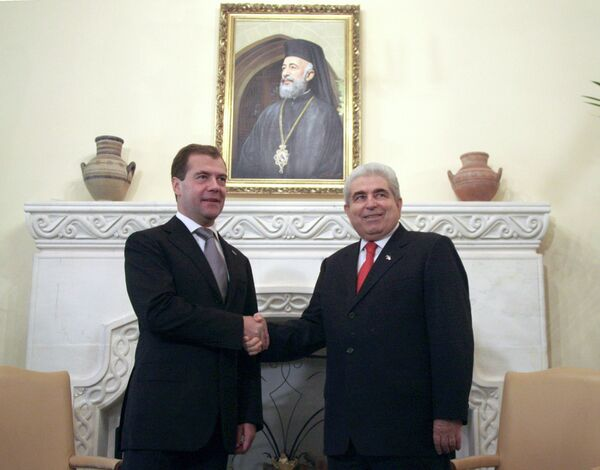 Президент РФ Д.Медведева и президент Кипра Д.Христофиас