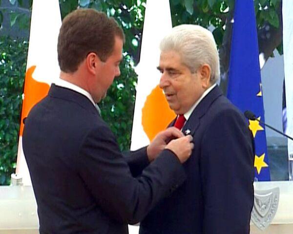 В присутствии Медведева президент Кипра вспомнил русский