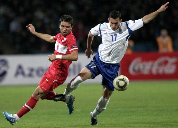 Игровой момент матча Азербайджан - Турция