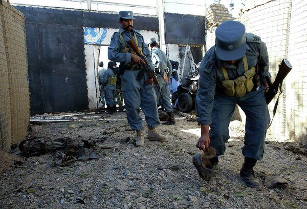 На месте нападения группы террористов на здание представительства миссии ООН в Афганистане