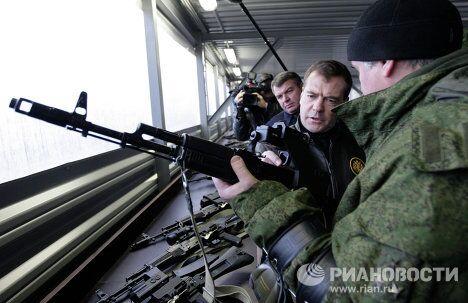 Президент РФ Д.Медведев посетил Центр переподготовки и повышения квалификации стрелков под Солнечногорском