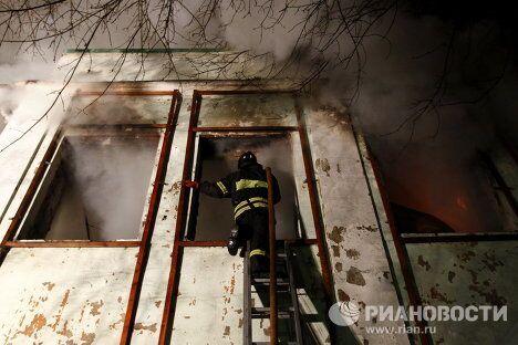 Пожар в здании на Большой Грузинской улице
