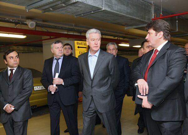 Мэр Москвы С.Собянин посетил один из центральных подземных паркингов столицы. Архив