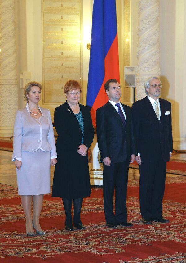 Президент России Дмитрий Медведев принял в Кремле президента Финляндии Т.Халонен