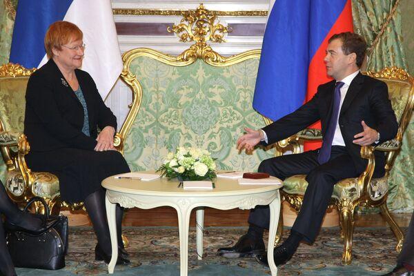 Президент России Д.Медведев принял в Кремле президента Финляндии Т.Халонен