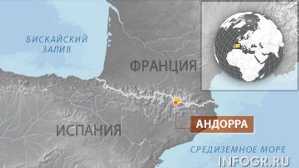 Местоположение Андорры на карте Европы