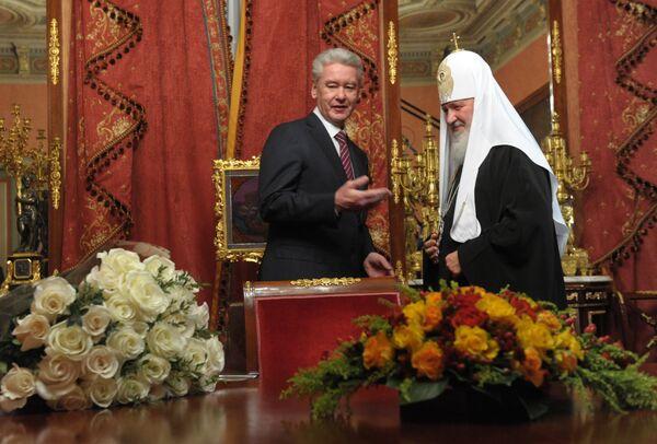 Встреча мэра Москвы Сергея Собянина с Патриархом Московским и Всея Руси Кириллом