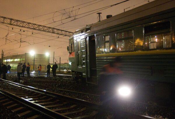 Станция Ховрино, где сошли с рельсов два вагона электропоезда Тверь - Москва
