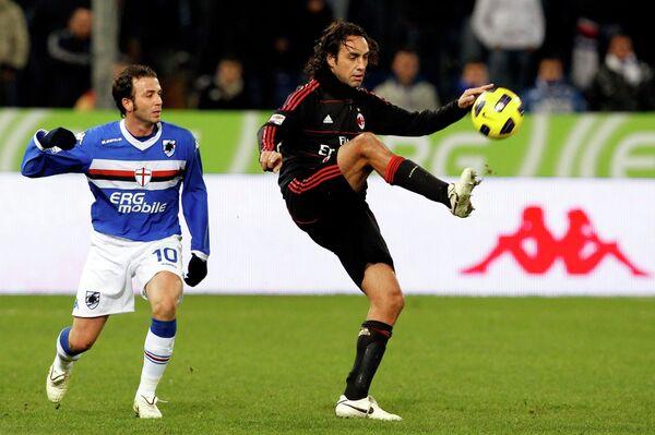 Игровой момент матча Сампдория - Милан
