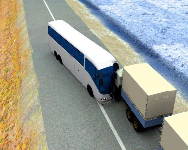 3D-реконструкция столкновения автобуса с КамАЗом в Саратовской области