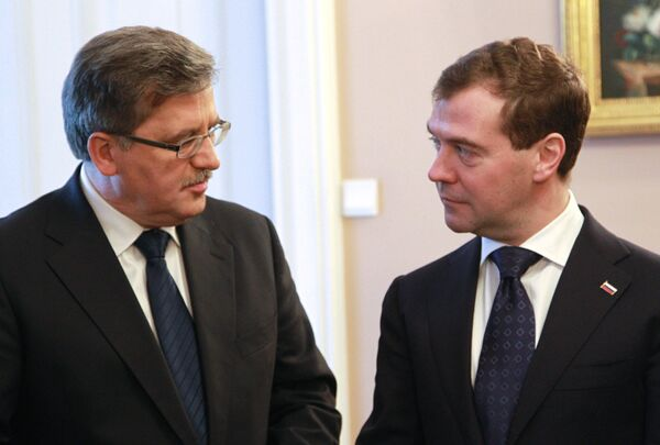 Президент РФ Д.Медведев на церемонии встречи президентом Польши в Варшаве