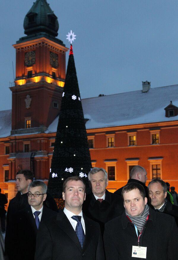 Президент РФ Дмитрий Медведев в Варшаве