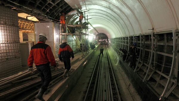 Строительство станции метро. Архив