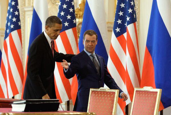 Президент России Дмитрий Медведев и президент США Барак Обама. Архив