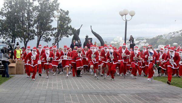 Соревнование Санта-Клаусов в Веллингтоне. Новая Зеландия