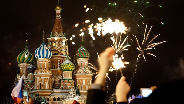 Встреча Нового года в центре Москвы