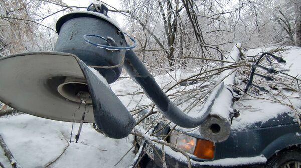 Последствия ледяного дождя в Подмосковье