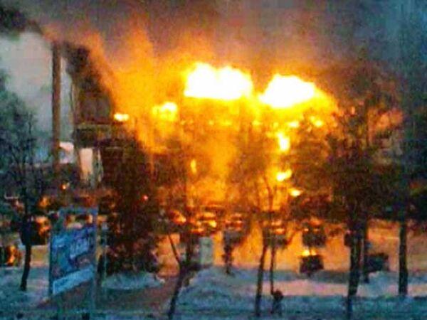 Пожар в торговом центре Европа в Уфе. Видео с места ЧП