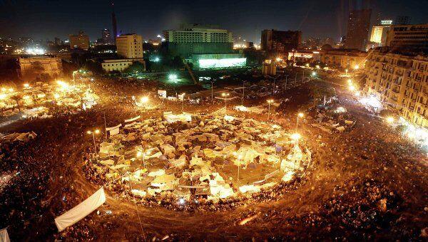 На площади Тахрир во время выступления Хосни Мубарака