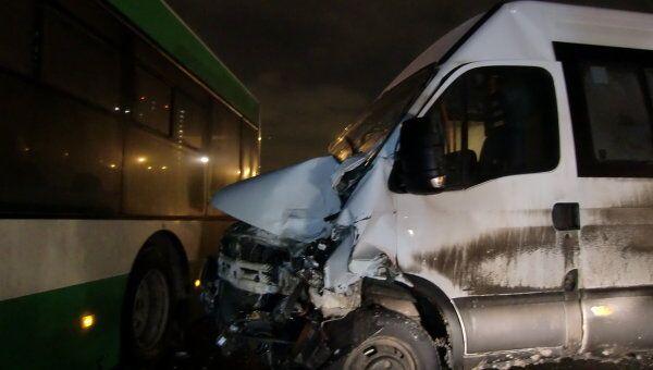 Авария с участием маршрутки и рейсового автобуса на юге Москвы