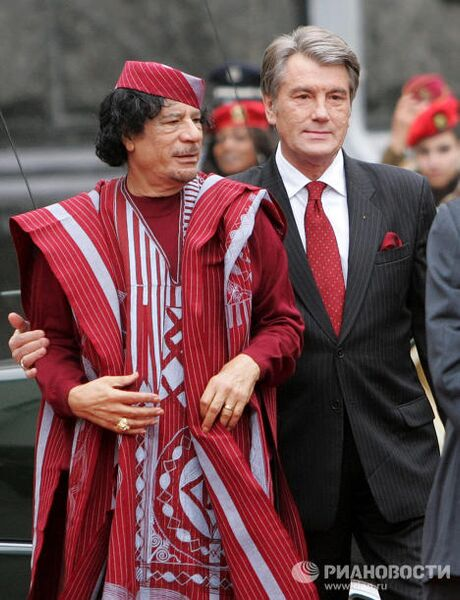 Официальная встреча Виктора Ющенко и Муамара Каддафи в Киеве