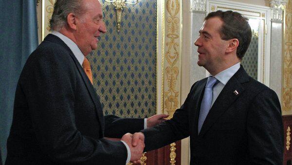 Президент РФ Д.Медведев и король Испании Хуан Карлос I