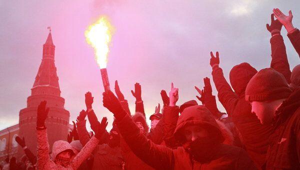 Акция на Манежной площади в память об убитом болельщике Спартака Егоре Свиридове. Архивное фото