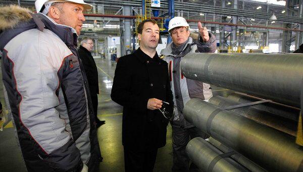 Посещение Дмитрием Медведевым завода Русал Саяногорск