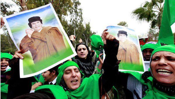 Акция сторонников Каддафи в Триполи