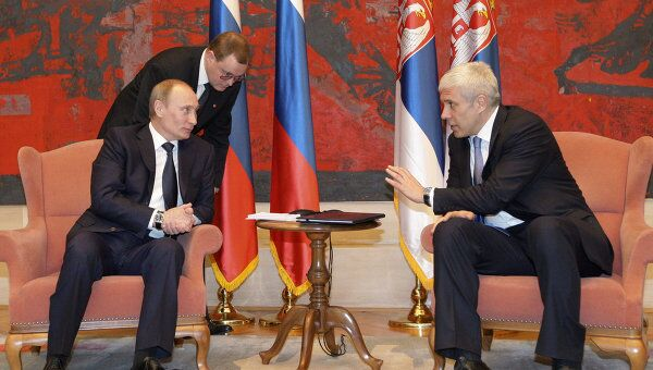 Беседа премьер-министра РФ В.Путина и Б.Тадича в Белграде
