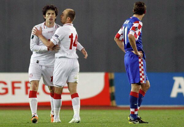 Игровой момент матча Грузия - Хорватия