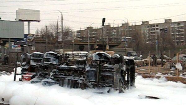 Последствия аварии бензовоза в Саратове