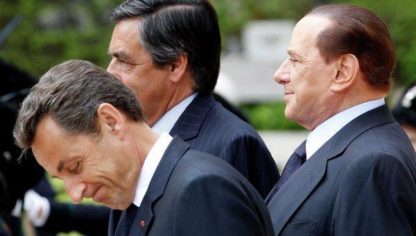 Николя Саркози и Сильвио Берлускони на совместной пресс-конференции в Риме