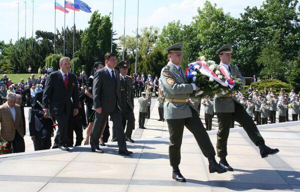 Во время церемонии возложения венков на горе Славин в Братиславе