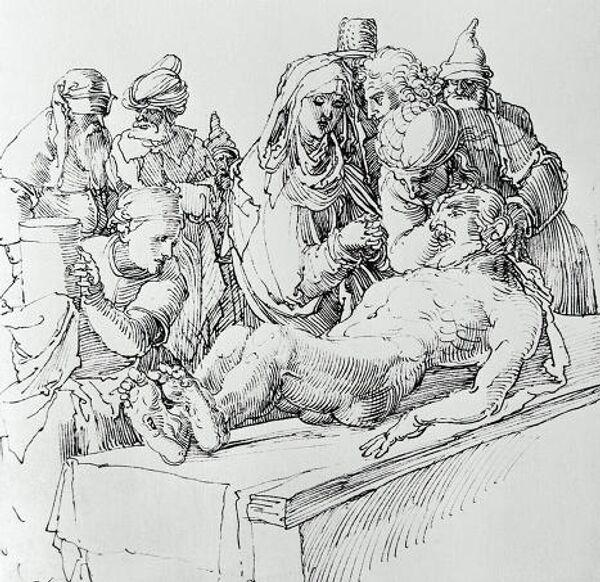 Репродукция рисунка пером Оплакивание Христа