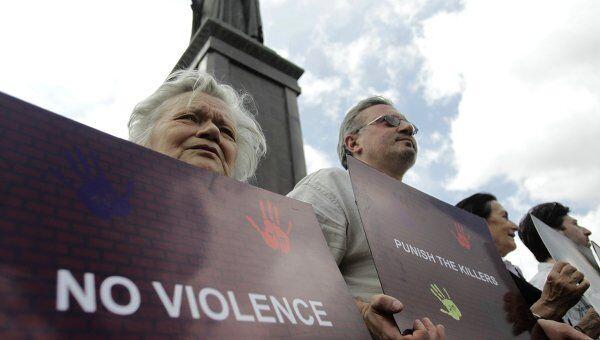 Правозащитники проводят Акцию молчания в центре Тбилиси