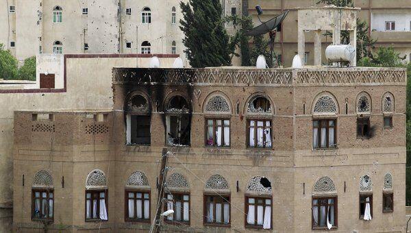 Дом в йеменском городе Сана после недавних беспорядков