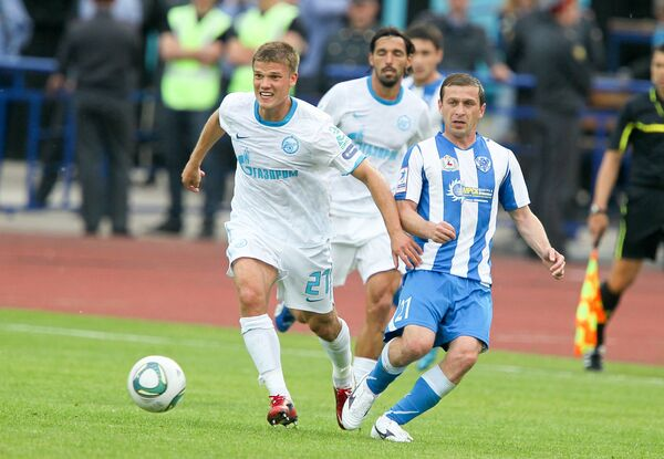 Игровой момент матча Волга - Зенит