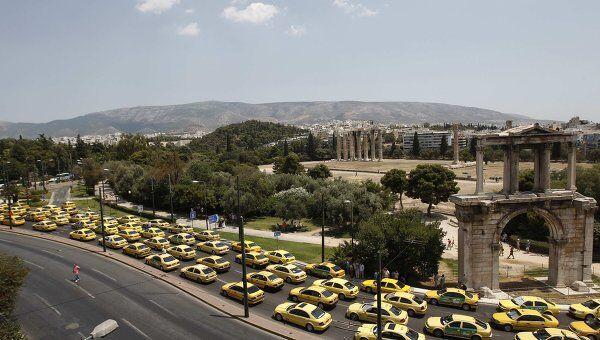 Акция протеста греческих таксистов в Афинах