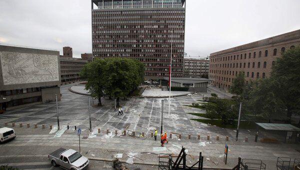 Центр Осло, где произошел теракт